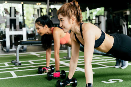 Happy young female athletic people performing push-up exercises with friend at fitness gym. Group of two sporty confident women with healthy lifestyle working out together on the floor