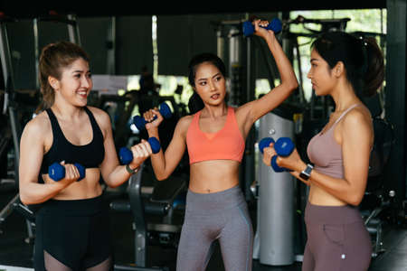 Happy young multiracial team of female athletes in sportswear training together with dumbbells in fitness club Banque d'images