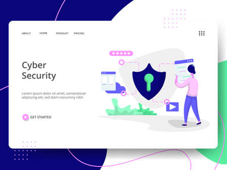 Cyber Security Illustration,the concept of Information Protection, can be used for landing pages, web, ui, banners, templates, backgrounds, flayer, posters, development.