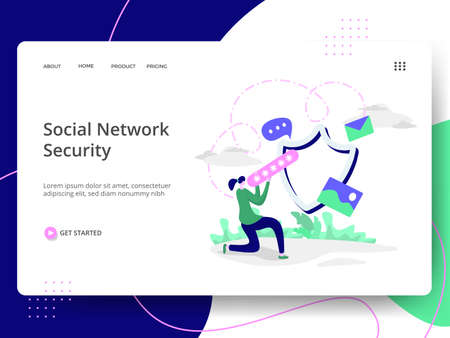 Social Network Security Illustration,the concept of Information Protection, can be used for landing pages, web, ui, banners, templates, backgrounds, flayer, posters, development. Vectores