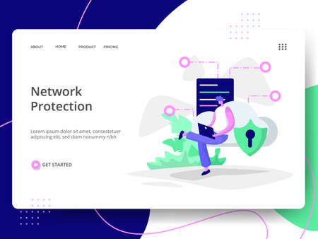 Platform Network Security Illustration,the concept of Information Protection, can be used for landing pages, web, ui, banners, templates, backgrounds, flayer, posters, development. Vectores