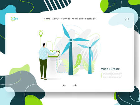 Landing page Solar Power, the concept of a man sitting next to a solar panel while using his laptop, can be used for ux, UI, banners, templates, backgrounds, web and mobile app development.