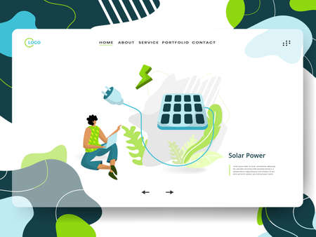 Landing page Solar Power, the concept of a man sitting next to a solar panel while using his laptop, can be used for ux, UI, banners, templates, backgrounds, web and mobile app development. Vektoros illusztráció
