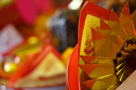 Pattern of Joss Paper, Chinese Tradition for Passed Away Ancestors spirits, Chinese new year.