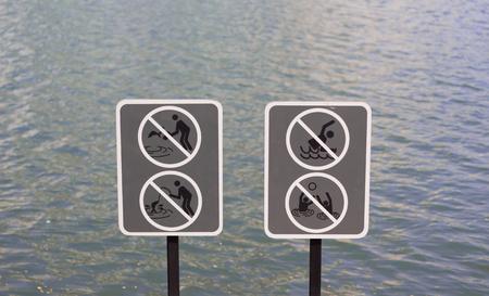 no swimming sign: warning sign
