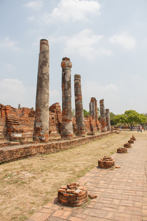 archaeological site at Ayutthaya in Thailand Stock Photo
