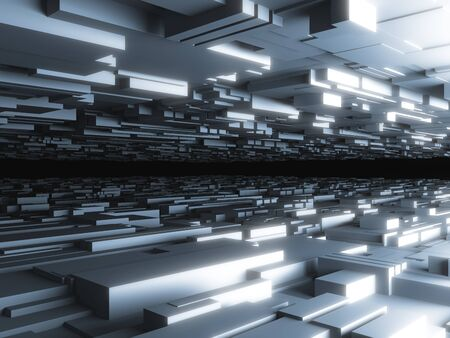 urban art: abstract futuristic background with glowing blocks, high quality 3d render