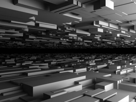 digitally generated: abstract futuristic background with lot of boxes, high quality 3d render Stock Photo