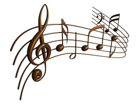 lineas verticales: Notas musicales 3D render aisladas en blanco