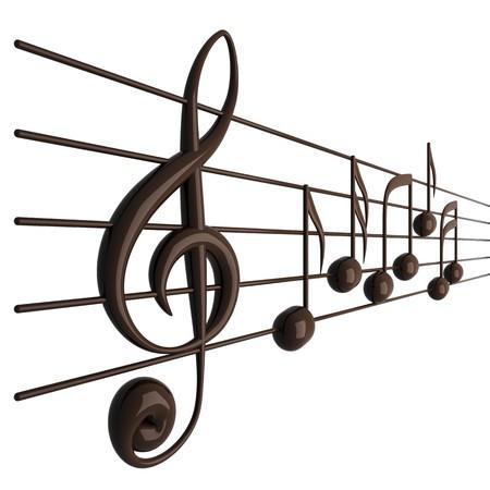clave de fa: 3D render notas musicales aisladas en blanco
