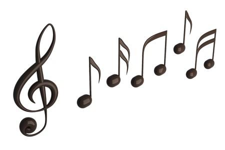 clave de fa: Notas musicales 3D render aisladas en blanco