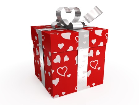 Red gift box with hearts, bow and tag, isolated on white photo