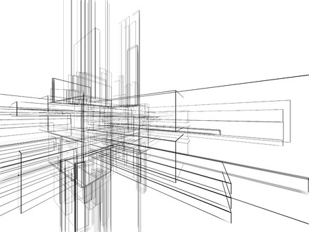 vanishing: Abstract wireframe at white background