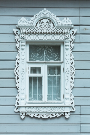 traditionally russian: Traditionally styled windows frame in russian village, Russia