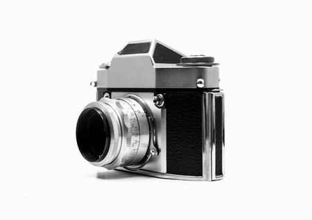 Vintage camera, isolated, white background photo