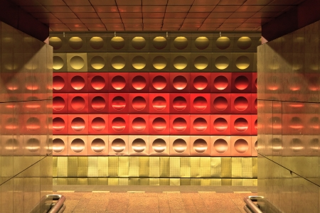 iron curtain: Metro station, metalic wall pattern, Prague, Czech Republic