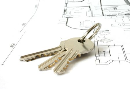 bunch of golden keys on a floor-plan or architecture-plan or house-plan 스톡 콘텐츠