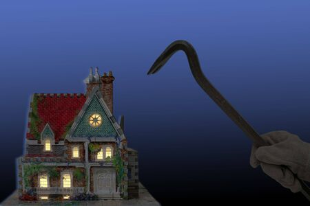 thievery: house with house-breaker and crowbar at night isolated on black and blue back-ground Stock Photo