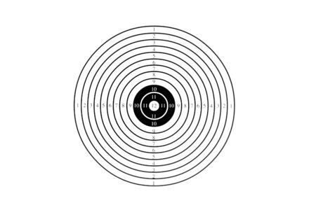 streefcijfer van zwarte cirkels geïsoleerd op witte achtergrond, zie mijn andere beelden van doelen