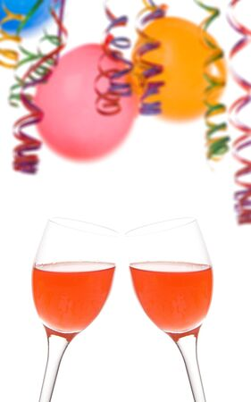 Border made from colorful balloons  confetti  and a drink isolated on white backgroundrr photo