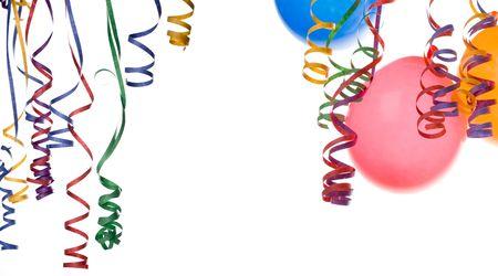 partij-frame, ballonnen en confettie geïsoleerd op witte achtergrond als kopie-spaceplease gaan kijken mijn soortgelijke partij-afbeeldingen Stockfoto