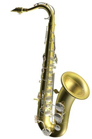 3D computer weer gegeven afbeelding van een saxofoon  Stockfoto
