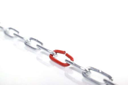 chain with broken link isolated on white background photo