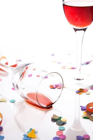 party is over, isolated against white background photo