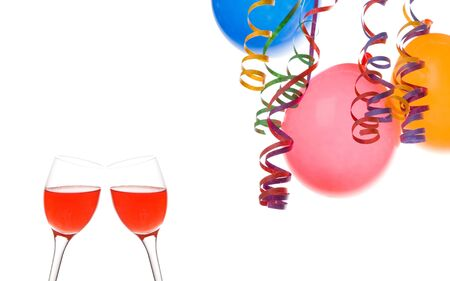 Border made from colorful balloons  confetti  and a drink isolated on white background Stock Photo - 3095032