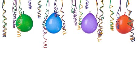 Border made from colorful balloons and confetti isolated on white background XXXLeasy to separate and make your own design photo
