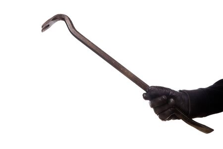 thievery: burglar with crowbar .isolated on a white background Stock Photo