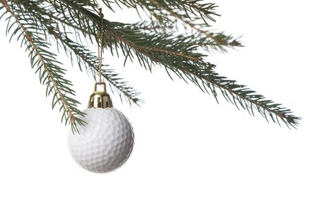 christmas golf: -ball as a xmas ornament isolated on white background Stock Photo
