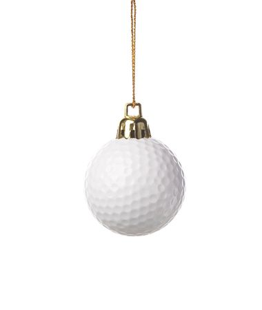 golf-ball as a xmas ornament , isolated on white background