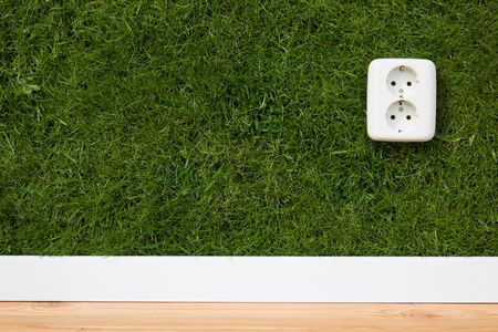 energie concept outllet in grass  Stockfoto