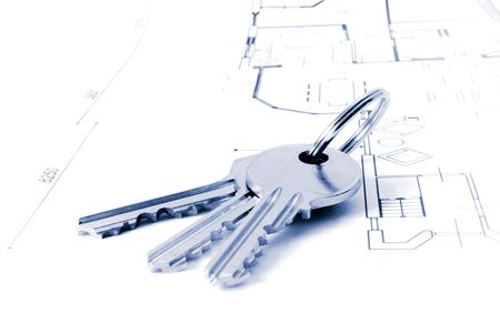 keys on a floor-plan or architecture-plan or house-plan.personal editing