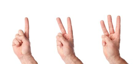 handsign: male hands counting to three