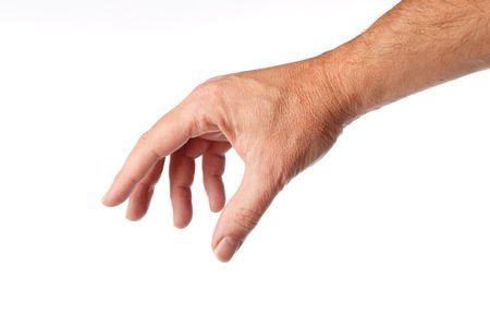 reaching hands: degelijke mannelijke hand en arm bereiken voor something.isolated op wit