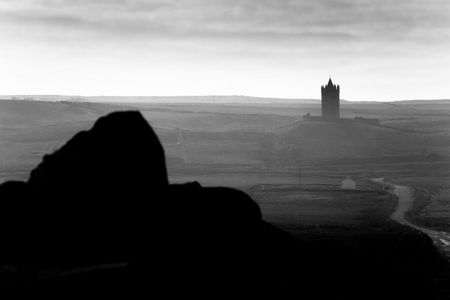 bw: Doonagore Castle near Doolin .The Burren, Ireland