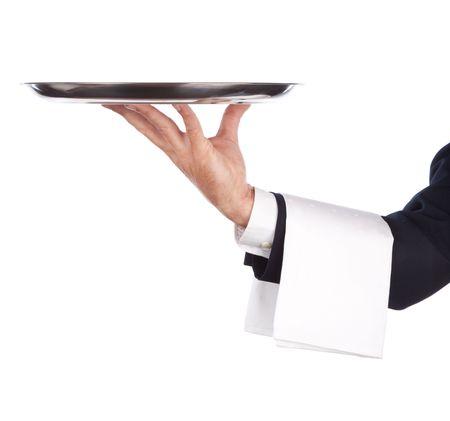 sirvientes: camarero con una .Isolated de plata sobre un fondo blanco Foto de archivo