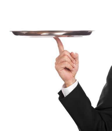 silver tray: waiter with empty tray, balancing on one finger Stock Photo