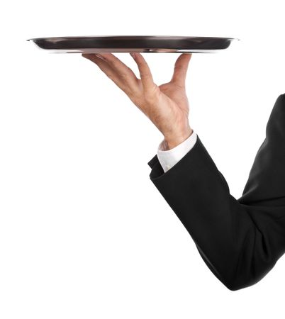 silver tray: waiter with an empty silver plate .Isolated on a white background