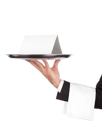 waiter with a silver plate with blank card on it .Isolated on a white background