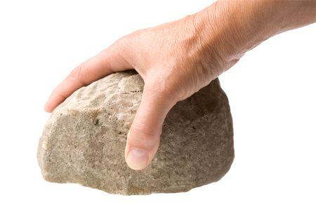 homme de main avec un rocher isolé sur un fond blanc