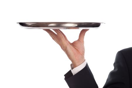 waiter with a silver plate .Isolated on a white background Stock Photo