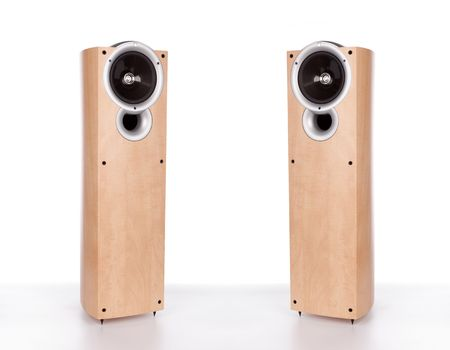 two wooden loudspeakers isolated on a white background photo