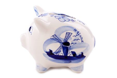 typical dutch delft blue piggy bank  isolated on white photo