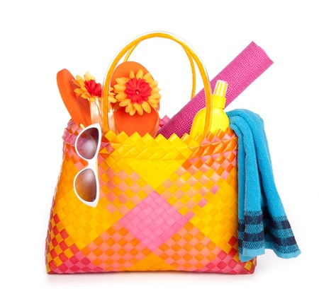 beach bag items photo