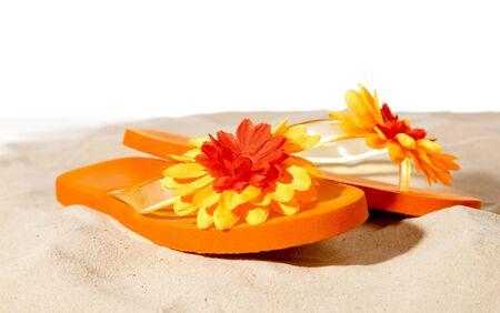 flip-flops  on a sunny beach photo