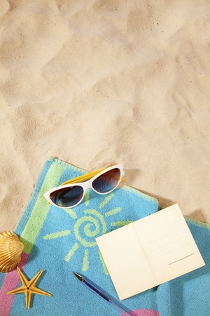 beach items  and a blank vintage postcard with copy-space Stock Photo - 9311234