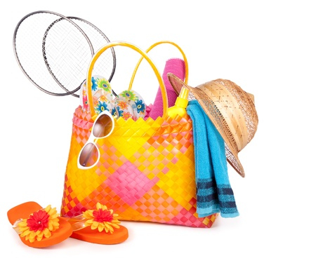 flipflops: beach bag with towel sunglasses flip-flops and hat.isolated on white